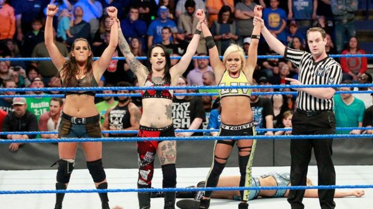 The Riott Squad collected a win in their debut match