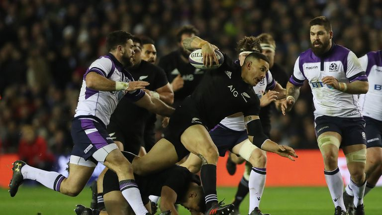 Sonny Bill Williams created two tries in New Zealand's abosring contest with Scotland