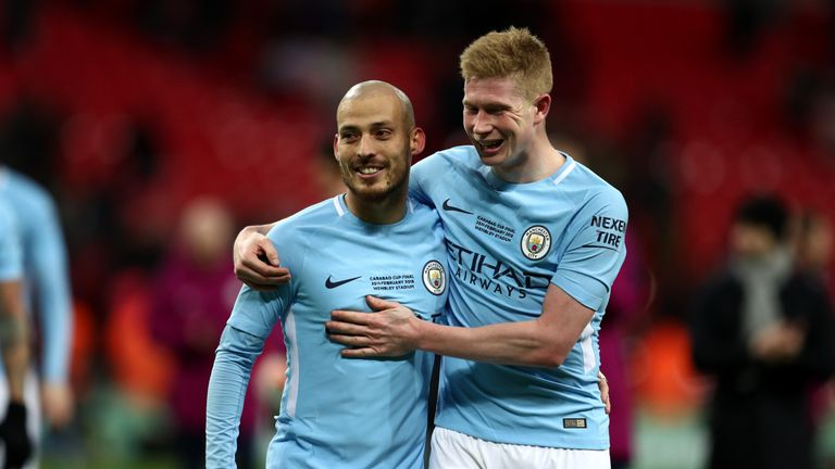 David Silva (left) and De Bruyne have also been nominated for PFA player of the year