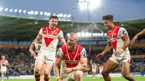 Luke Thompson scored one of St Helens' seven tries as they beat Hull to consolidate their position at the top of Super League