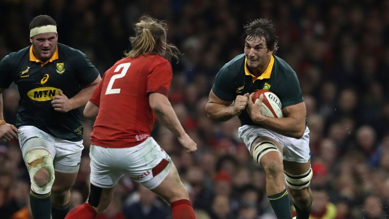 South Africa's Eben Etzebeth made his first appearance for eight months on Saturday