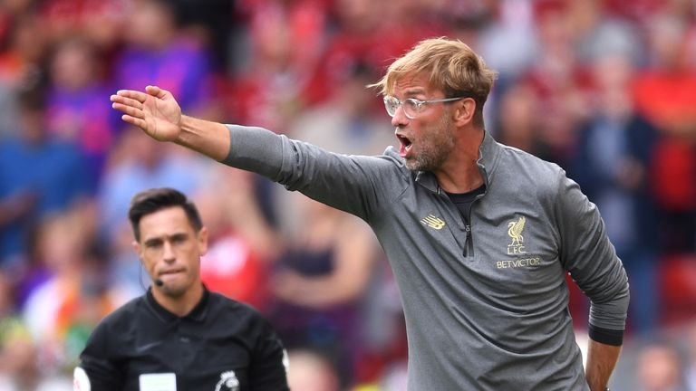 Jurgen Klopp gives his team instructions during the 4-0 home win over West Ham United