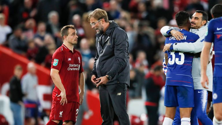 Klopp talks to Shaqiri after Wednesday's defeat at Anfield