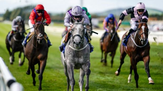 Richard Kingscote riding Havana Grey win the Derrinstown Stud Flying Five Stakes