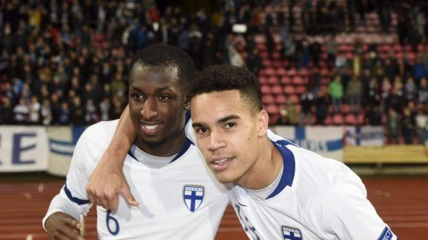 Finland's goalscorers celebrate the win