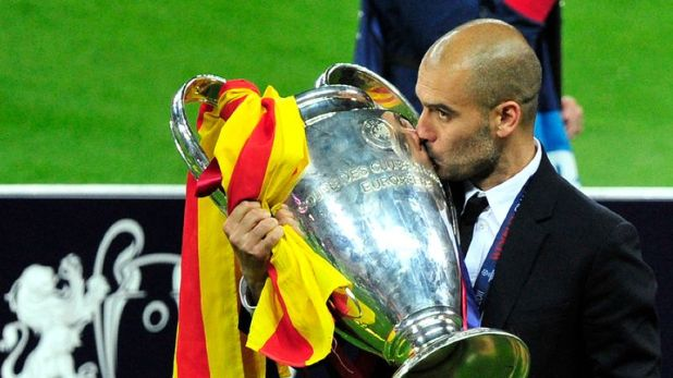 Pep Guardiola won two Champions League titles with Barcelona in four seasons