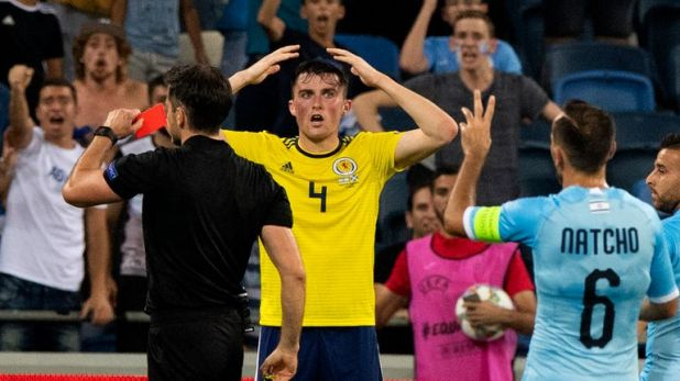 Scotland's John Souttar was sent off in Israel for two bookable offences