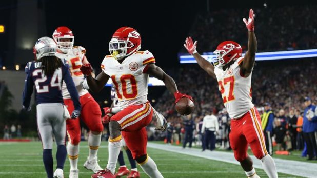 Tyreek Hill caught seven passes for 142 yards and three touchdowns against New England
