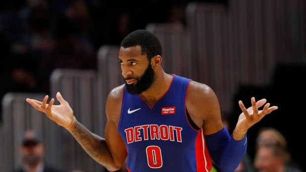 Andre Drummond gestures after making a basket