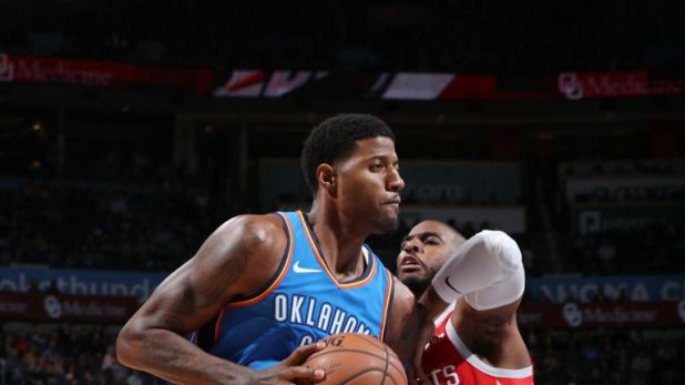 Paul George outmuscles Chris Paul