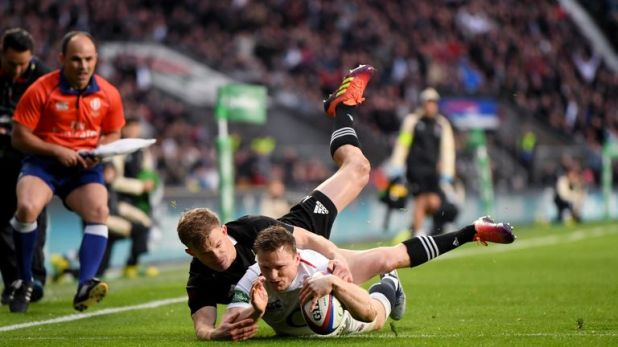Chris Ashton scores for England at Twickenham