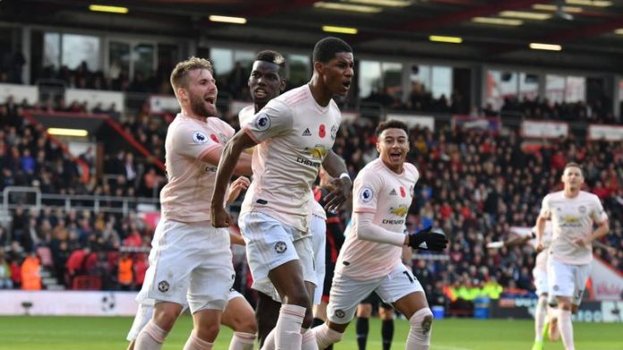 Marcus Rashford celebrates his late winner in Bournemouth