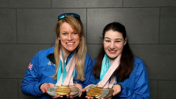 Jen Kehoe and Menna Fitzpatrick (R) showcasing their medals from the 2018 Paralympic Winter Games in PyeongChang