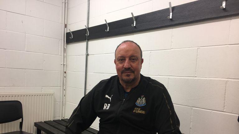 Benitez parlait dans le vestiaire du terrain d'entraînement du club