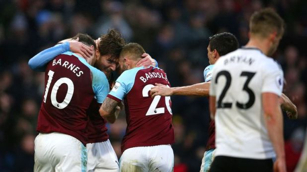 Burnley's Hendrick (centre) crossed in for his side's equaliser