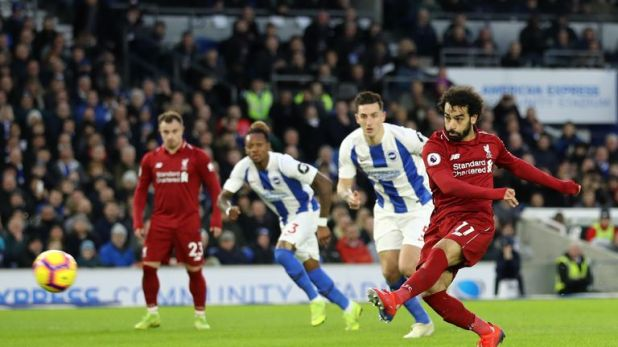 Salah puts Liverpool ahead from the penalty spot