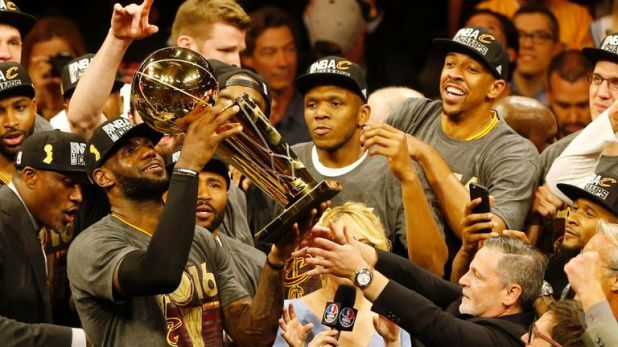 LeBron James celebrates winning an NBA title for his hometown Cleveland Cavaliers