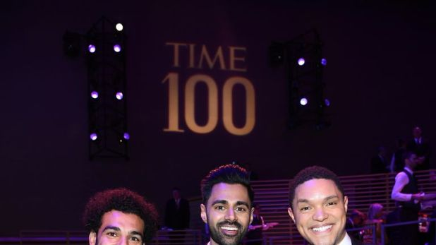 Salah rubbed shoulders with Hasan Minhaj (middle) and Trevor Noah