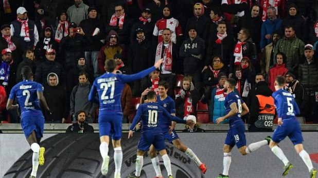 Marcos Alonso scored for Chelsea against Slavia Prague in the first leg