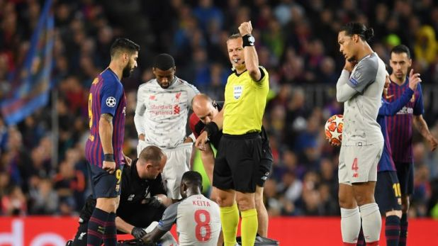 Naby Keita picked up a thigh injury during Liverpool's Champions League semi-final first leg defeat against Barcelona
