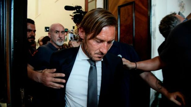 Francesco Totti leaves press conference after stepping down at Roma