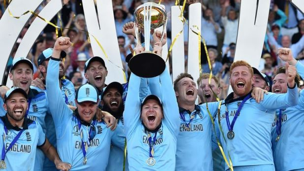 Eoin Morgan lifts the World Cup trophy after England's win over New Zealand in the Lord's final in July