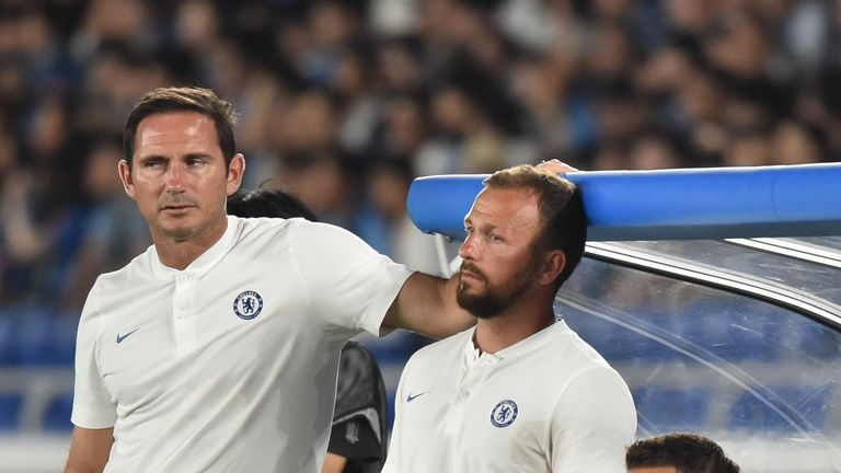 Lampard with assistant Jody Morris (right) on the touchline against Kawasaki