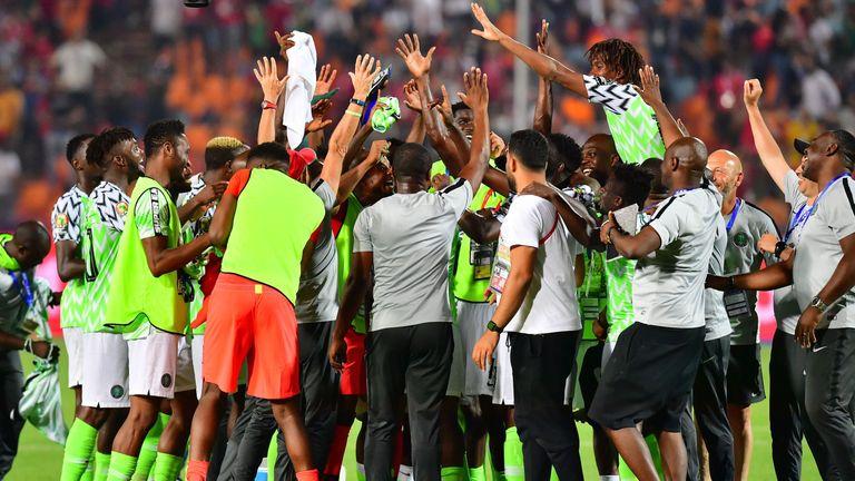 Nigeria celebrate reaching the semi-finals