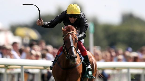Stradivarius, ridden by Frankie Dettori, wins the Weatherbys Hamnilton Lonsdale Cup