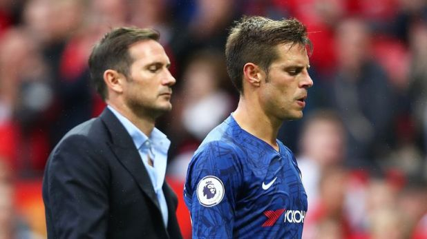 Azpilicueta had a tough day in his first Chelsea game under Frank Lampard at Old Trafford