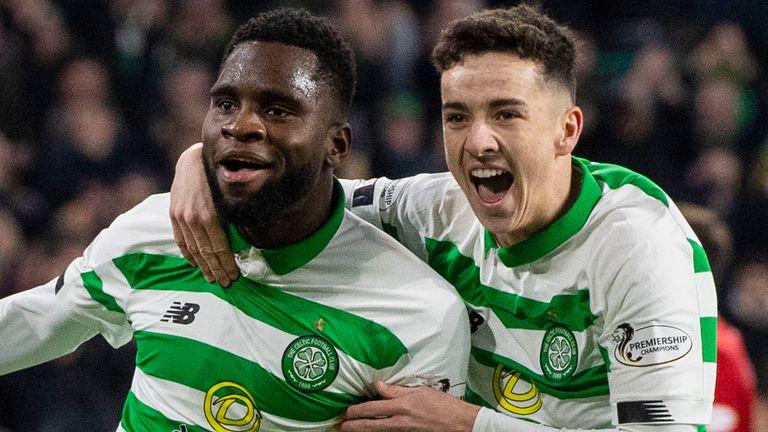 Celtic's Odsonne Edouard celebrates his winning goal with Mikey Johnston