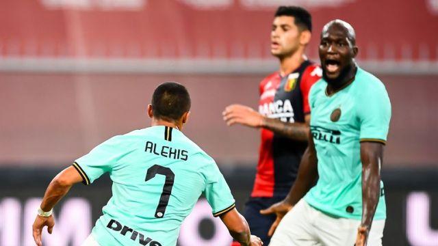 Sanchez celebrates with his former Manchester Utd team-mate Romelu Lukaku