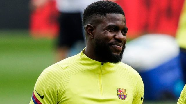 Samuel Umtiti is not with Barcelona's Champions League squad