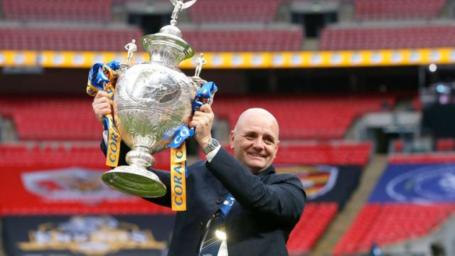 Leeds head coach Richard Agar celebrates with the Challenge Cup