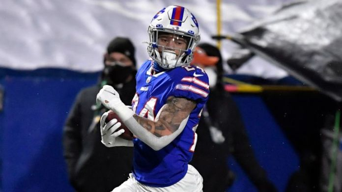 Taron Johnson ran in for the longest Pick Six in Playoff history as Buffalo beat Baltimore on Saturday night (AP Photo/Adrian Kraus)