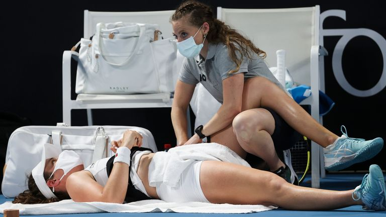 Konta received treatment from a trainer before calling time on her challenge midway through her first-round match