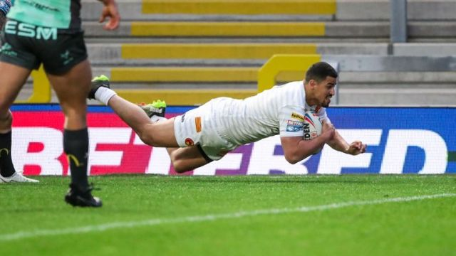 Catalans' Fouad Yaha scores a try
