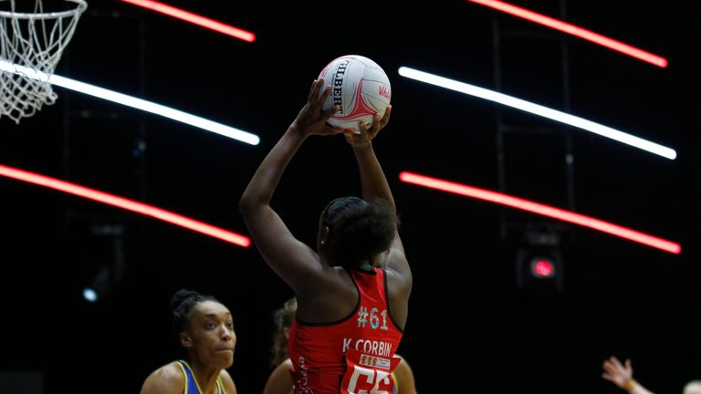 Kadeen Corbin excelled for Saracens Mavericks against Team Bath Netball in Round Nine (Image Credit - Morgan Harlow)