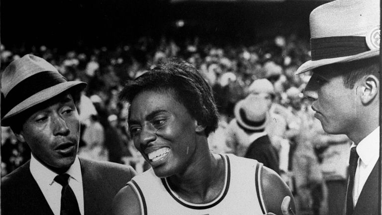 Tyus moments after winning her second 100m gold in 1968 in Mexico City