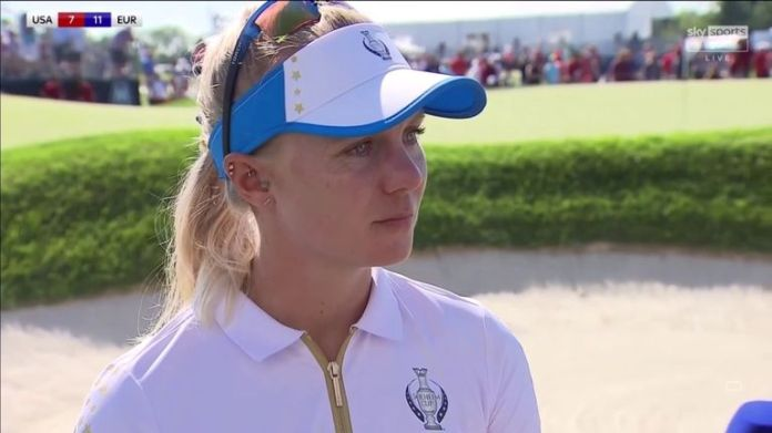Madelene Sagstrom was delighted to finish the Solheim Cup on a high with a 3&2 victory over Ally Ewing in the singles
