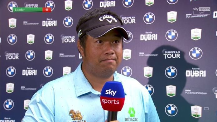 Kiradech Aphibarnrat discusses going on a back-nine birdie run to set the clubhouse target with an opening-round 64 at Wentworth