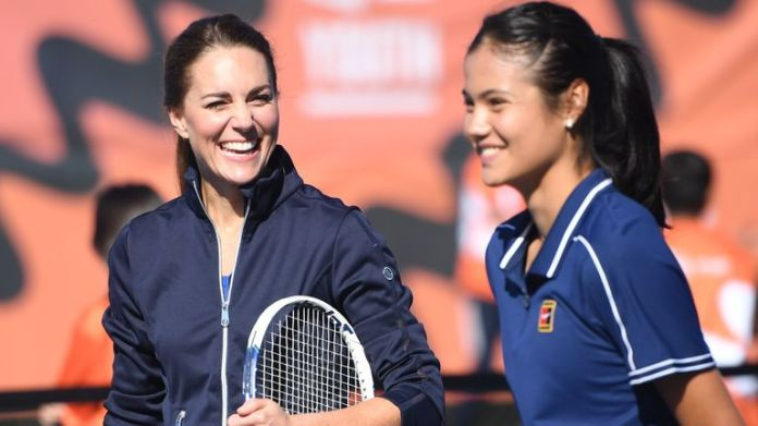 Raducanu - pictured playing tennis with Kate Middleton - has experienced a rapid rise since winning the US Open