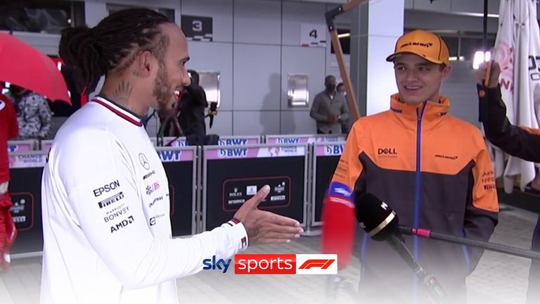 Lewis Hamilton and Lando Norris joined forces mid-interview following their dramatic battle which resulted in Hamilton's 100th career win.