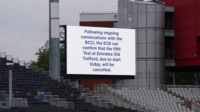 A view of a message displayed at Emirates Old Trafford in Manchester after India forfeited the fifth Test against England over Covid concerns