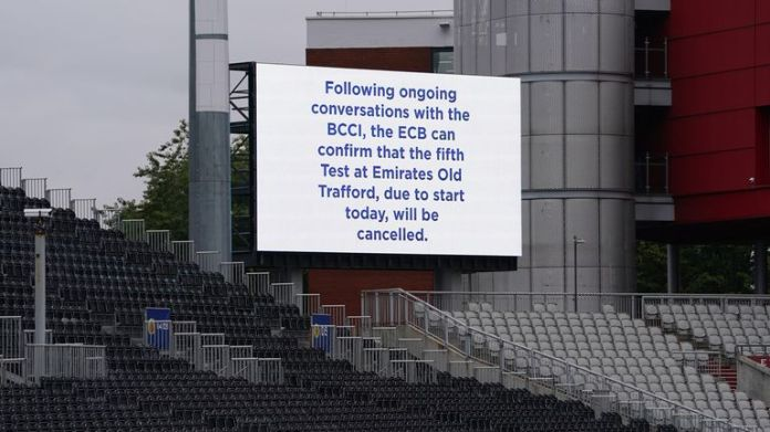 The fifth Test between England and India at Old Trafford was cancelled