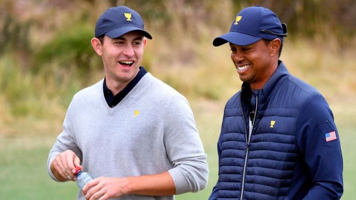 Cantlay and Tiger Woods at the 2019 Presidents Cup