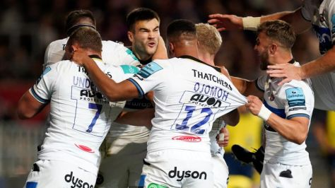 Bath's Will Muir scored two tries, as his side looked set for victory at Ashton Gate