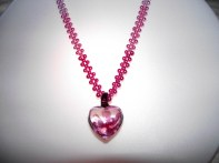 Pink lampwork and peark