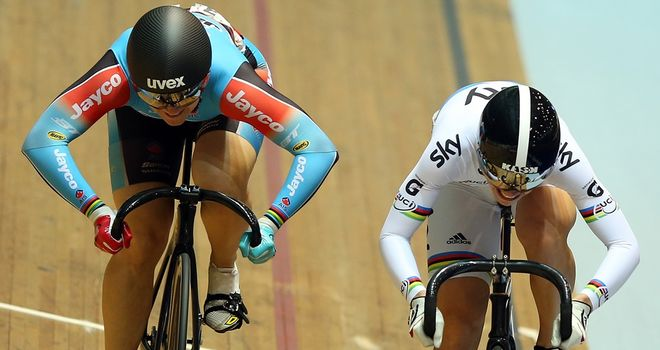 Anna Meares, left, and Becky James go head-to-head at the Track Cycling World Cup in Manchester in November