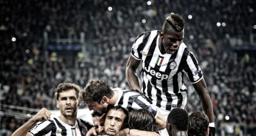 Juventus celebrate Arturo Vidal's goal against Real Madrid in the 2013/14 group stage